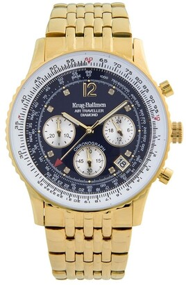 Krug Baumen Krug-Baumen 400104DS Krug-Baumen Diamond Air Traveller Quartz Chronograph Gold/Blue Watch 400104DS