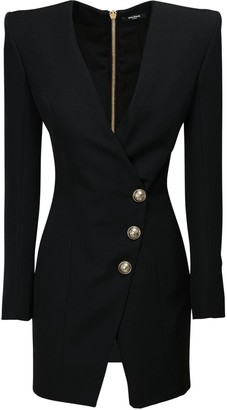 Balmain V Neck Wrap Wool Mini Dress
