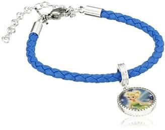 Disney Girls' Plated Brass Tinkerbell Leather Bead Charm Bracelet