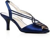 Caparros Philomena Satin Embellished Slingback Mid Heel Sandals