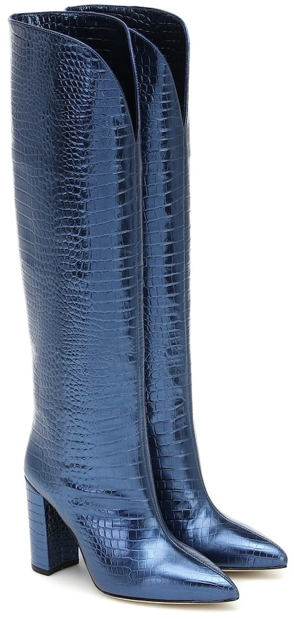 Navy Knee High Leather Boots   Shop the