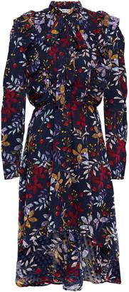Walter Baker Ruffled Flocked Floral-print Georgette Dress