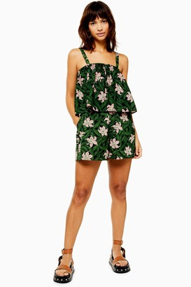 Topshop Womens Green Hibiscus Floral Shorts - Green