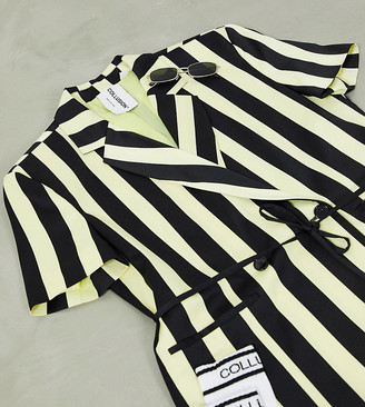 Collusion short sleeve blazer dress in candy stripe