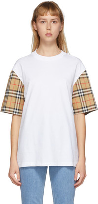 Burberry White Check Sleeve T-Shirt