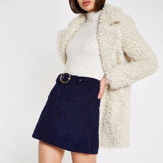 River Island Womens Navy cord belted mini skirt