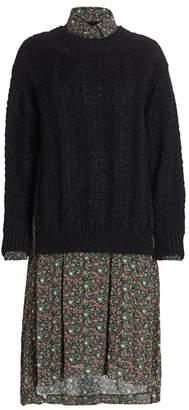 Junya Watanabe Sweater Front Mixed Media Shirtdress
