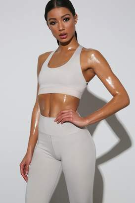 I SAW IT FIRST Grey Strappy Back Active Sports Bra