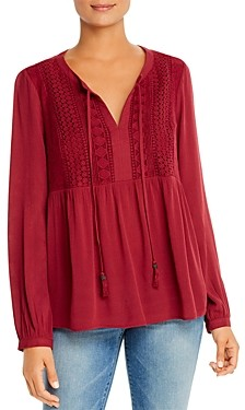 Daniel Rainn Lace & Gauze Tie-Neck Top