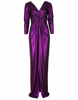 Marchesa Notte Amethyst Long Sleeve V-Neck Foiled Lame Gown