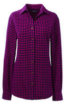 Classic Women's Long Sleeve Flannel Shirt-Raspberry Check