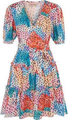 Traffic People Felicitous Watercolour Print Mini Dress In Multicoloured