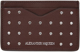 Alexander McQueen Burgundy Studded Card Holder
