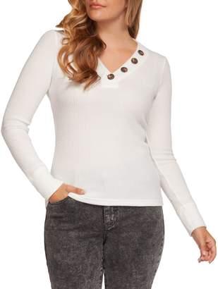 Dex Long Sleeve V-Neck Button Top