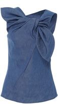 Carolina Herrera Denim Wrap Top