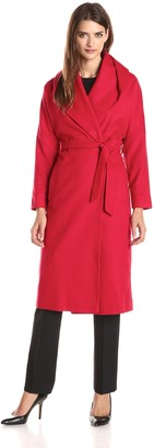 Helene Berman Women's Shawl Collar Long Wrap Coat Self Belt