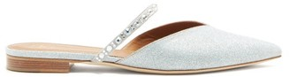 Malone Souliers Marla Crystal-embellished Lurex Backless Flats - Silver