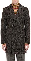 Junya Watanabe Man Comme des Garçons Men's Textured-Knit Wool-Blend Double-Breasted Coat-GREEN, BROWN