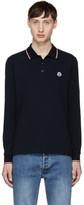 Moncler Navy Long Sleeve Logo Polo