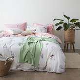 Vougemarket 3 Piece Cotton Duvet Cover Set Full/Queen Bedding Set Reversible Feather Printed Pattern,Lightweight Soft Comforter Cover for Girls-Feather