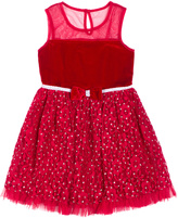 Little Lass Red Bow Tulle A-Line Dress - Infant & Toddler