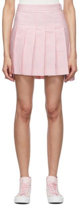 Thom Browne Pink and White Seersucker Pleated Miniskirt