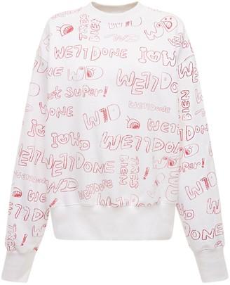 we11done Graffiti Logo Cotton Jersey Sweatshirt