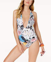 Volcom Collage Dropout Printed Plunging Cheeky One-Piece Swimsuit