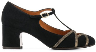 Chie Mihara T-bar embroidered pumps