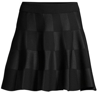 Escada Sport Rossi Virgin-Wool Blend Checkered Flare Skirt