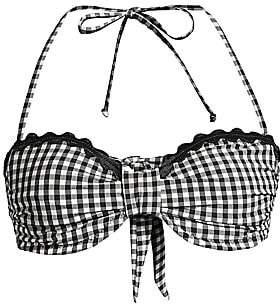 Shoshanna Women's Classic Gingham Scallop Bandeau Bikini Top