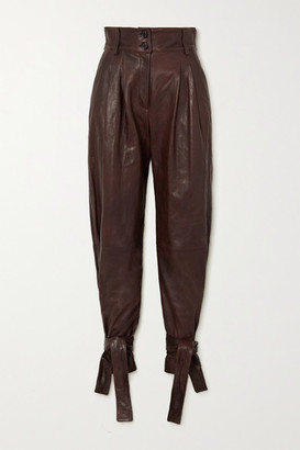 Dolce & Gabbana Tie-detailed Leather Tapered Pants - Brown