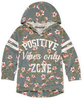 Beautees Knitworks Floral Varsity Graphic Sweatshirt with Necklace - Girls' 4-16 & Plus