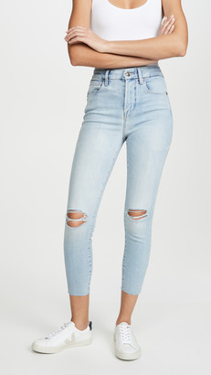 Good American Good Waist Crop Frayed Hem Jeans