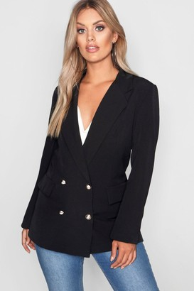 boohoo Plus Double Breasted Military Blazer