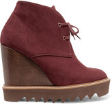 Stella McCartney Faux nubuck lace-up wedge boots