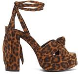 Saint Laurent Bianca Leopard-print Suede Platform Sandals - Womens - Leopard