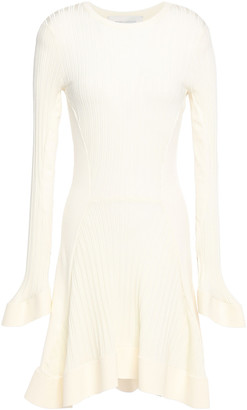 Esteban Cortazar Fluted Ribbed Stretch-knit Mini Dress