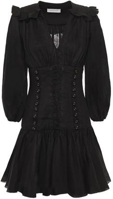 Zimmermann Lace-up Ruffled Linen Mini Dress