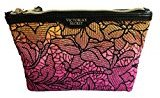 Victoria's Secret Embroidery Ombre Floral Cosmetic Medium Bag (Pink)