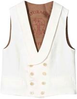 Brunello Cucinelli White Vest With Frontal Button Closure