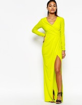 Lipsy Wrap Front Long Sleeve Maxi Dress