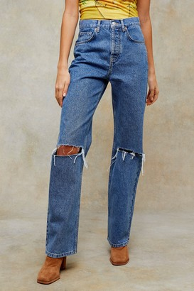 Topshop Womens Mid Blue Ripped 90S Straight Jeans - Mid Stone