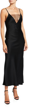 Jason Wu Collection Illusion V-Neckline Satin Dress