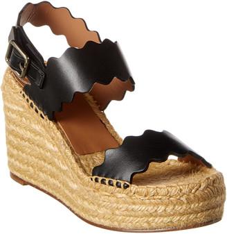 Chloé Lauren Leather Wedge Sandal