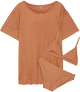 Base Range Baserange - Bamboo-jersey T-shirt, Soft-cup Bra And Briefs Set - Beige