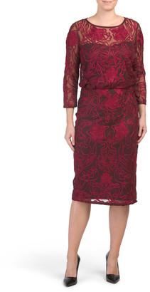 Three-quarter Sleeve Illusion Dress