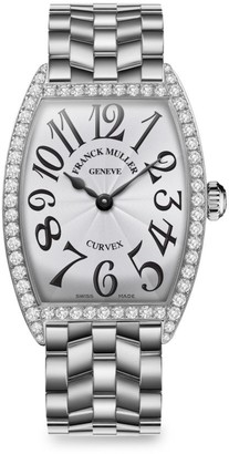 Franck Muller Cintree Curvex 39MM Stainless Steel & Diamond Bracelet Watch