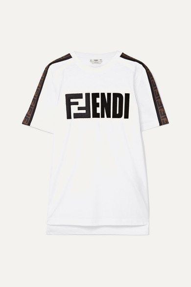 Fendi Embroidered Flocked Cotton-jersey T-shirt - White