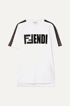 Fendi Embroidered Flocked Cotton-jersey T-shirt - White